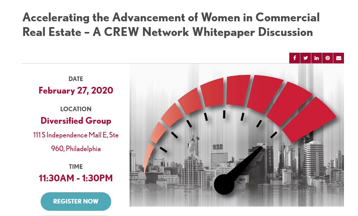 CREW flier for Accelerating the Advancement of Women in Commercial Real Estate event