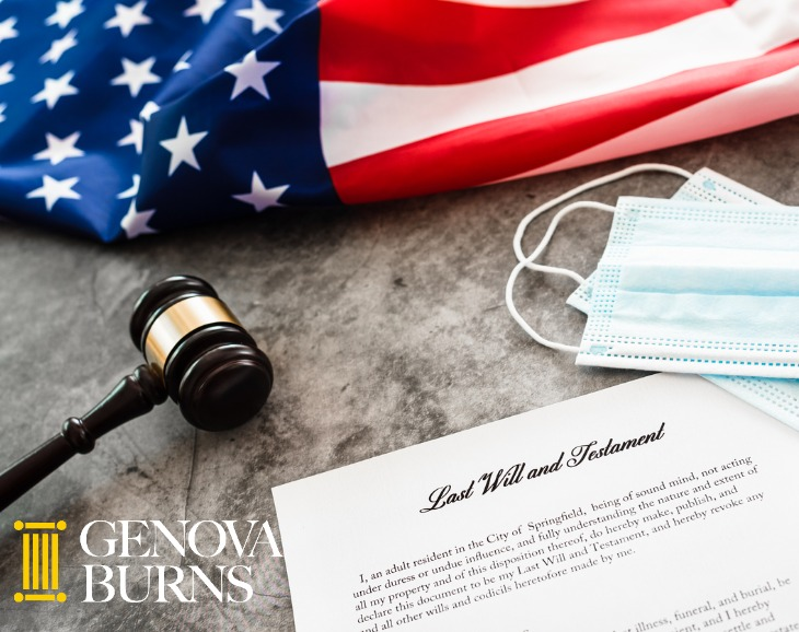 American flag, gavel, last will and testament, and face mask
