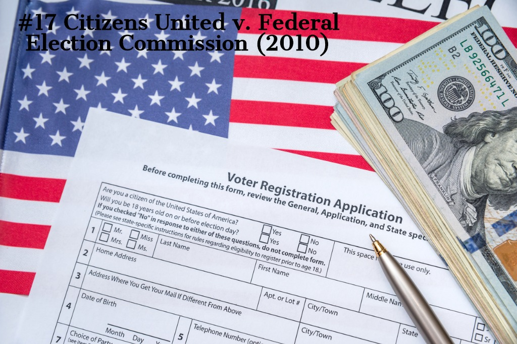 American flag, voter registration with pen, and one hundred dollar bills