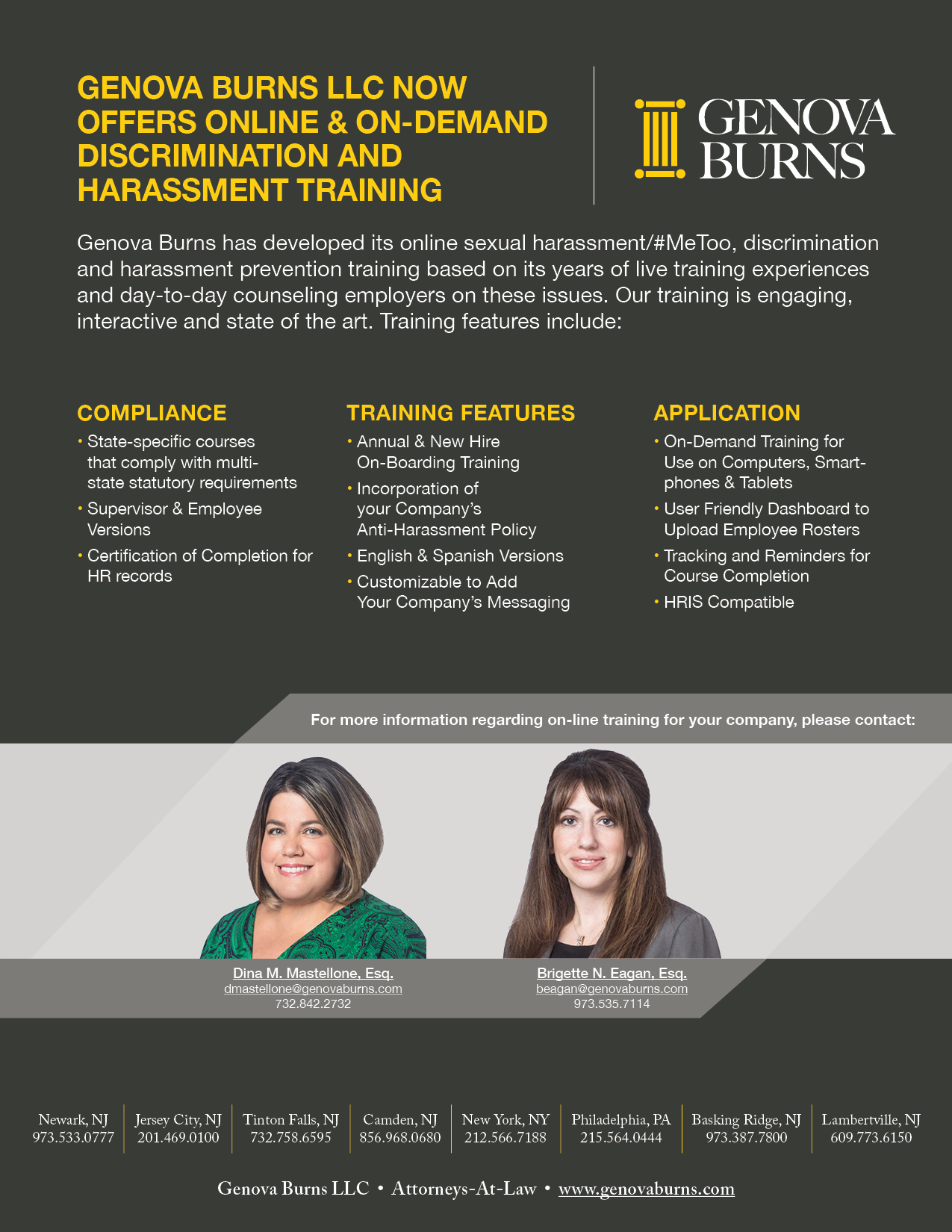 Genova Burns Now Offers On-Line & On-Demand Discrimination and Harassment Training