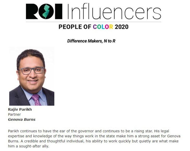 Rajiv Parikh Named to ROI NJ Influencers: People of Color 2020 Listing