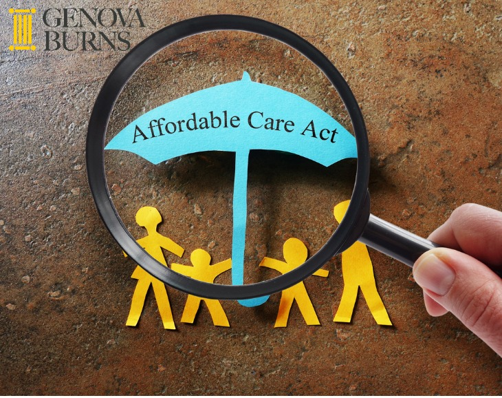Paper cut out family under ACA umbrella with magnifying glass