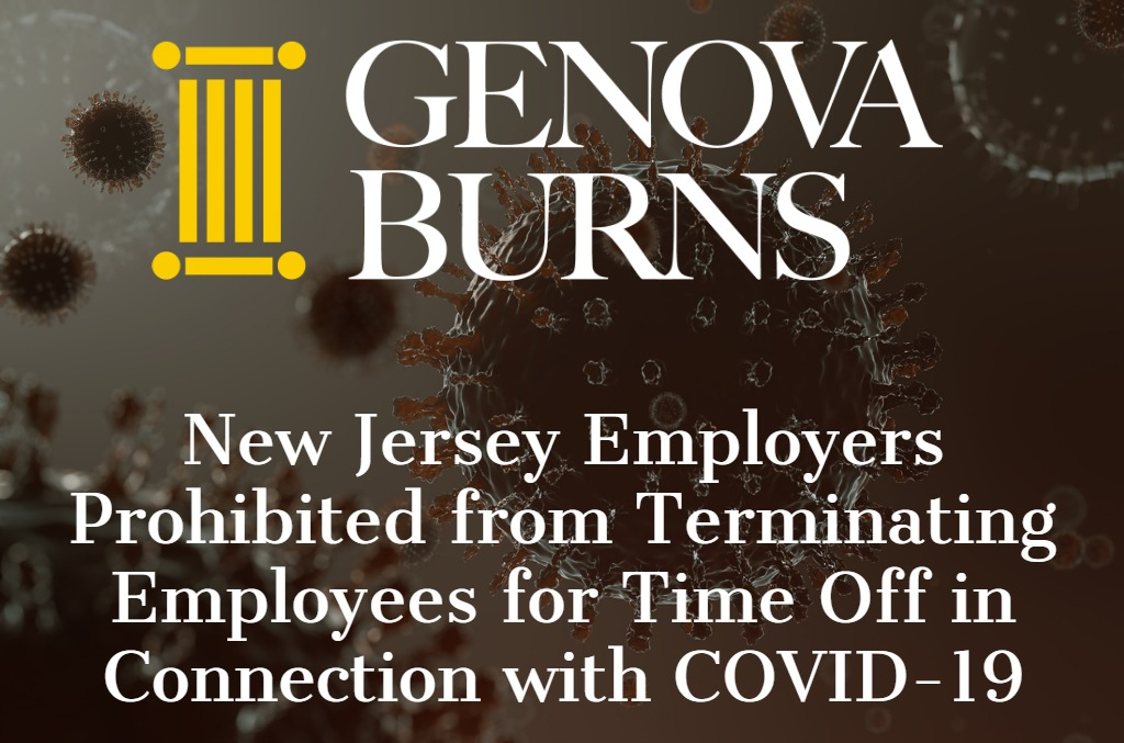 COVID-19 image with Genova Burns LLC logo
